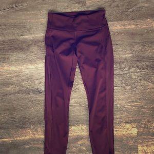 Lululemon Maroon full length athletic leggings